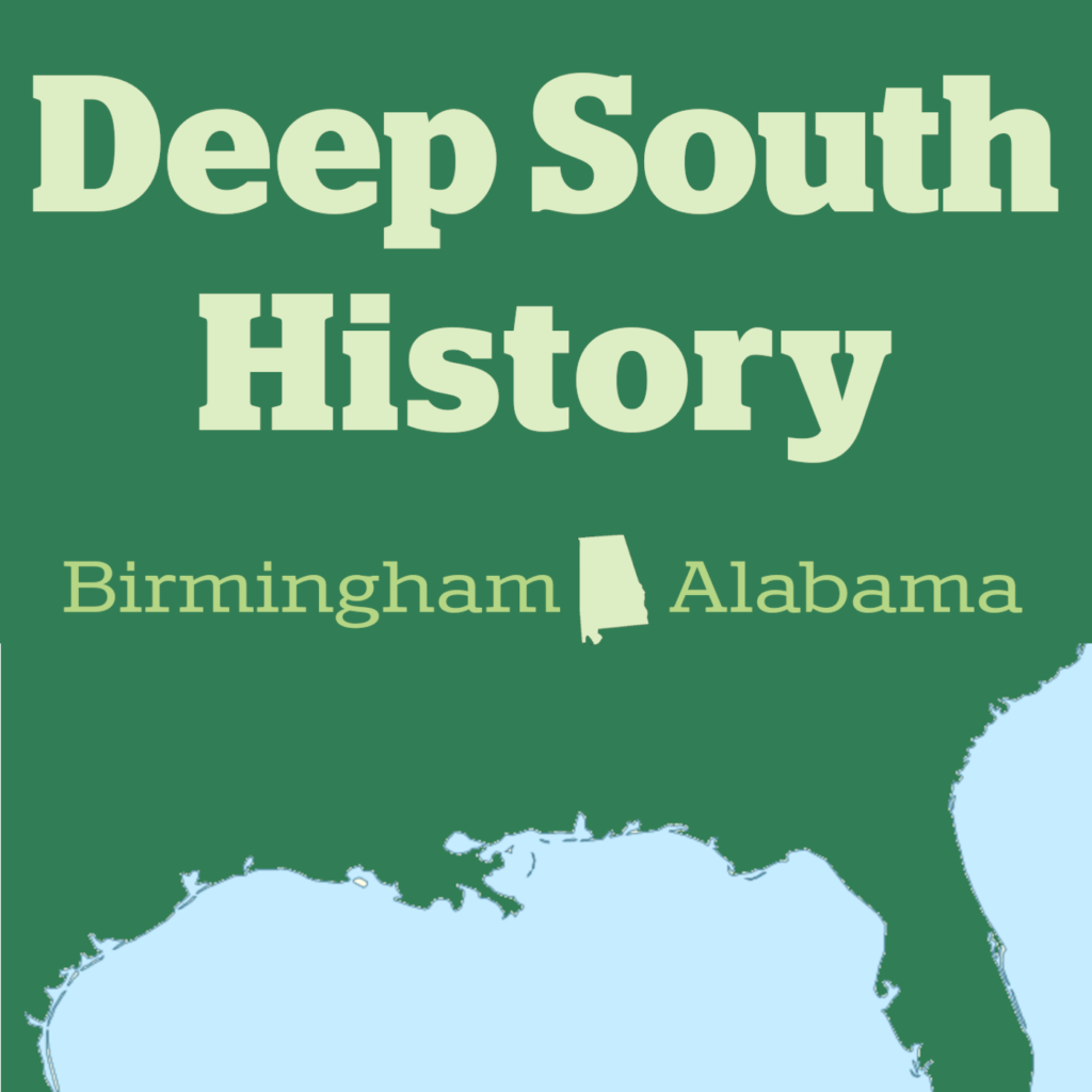Square graphic with the words Deep South History over a map of the Southeast